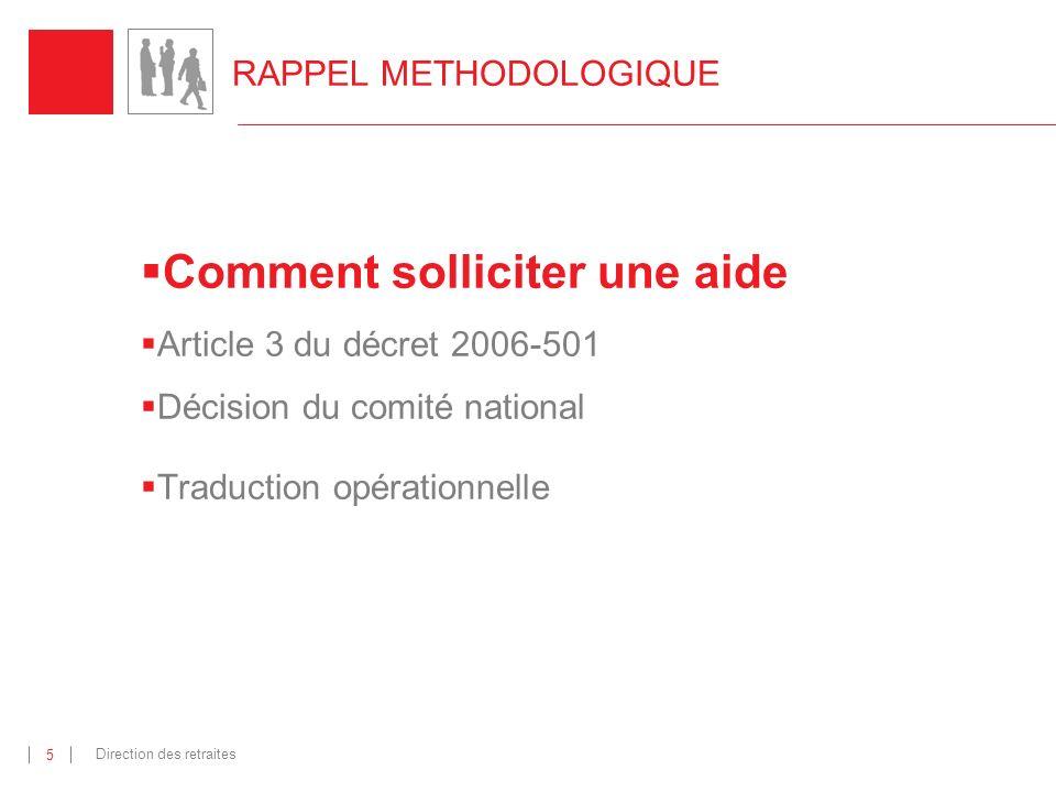 Direction des retraites 16 Traduction opérationnelle : catalogue des aides (3) Les actions nouvelles La boite à outils Qui .