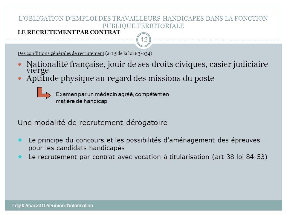 LOBLIGATION DEMPLOI DES TRAVAILLEURS HANDICAPES DANS LA FONCTION PUBLIQUE TERRITORIALE cdg05/mai 2010/réunion d'information 12 LE RECRUTEMENT PAR CONT