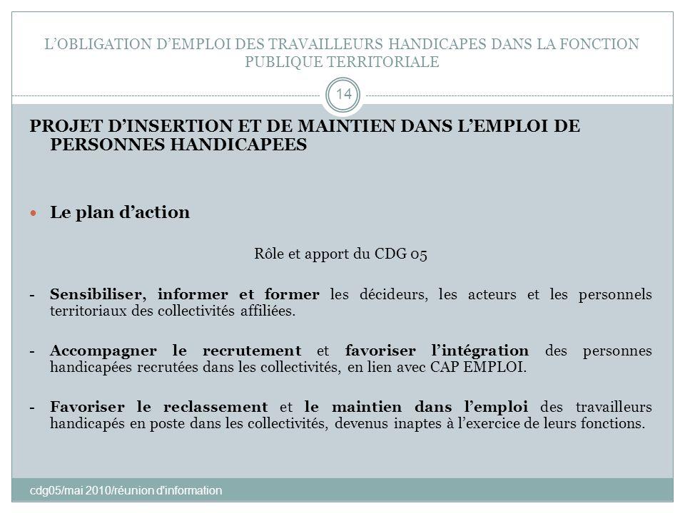 LOBLIGATION DEMPLOI DES TRAVAILLEURS HANDICAPES DANS LA FONCTION PUBLIQUE TERRITORIALE cdg05/mai 2010/réunion d'information 14 PROJET DINSERTION ET DE