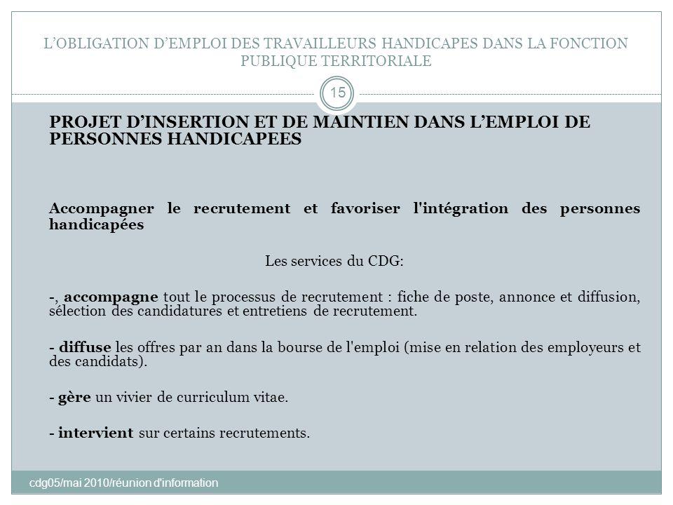 LOBLIGATION DEMPLOI DES TRAVAILLEURS HANDICAPES DANS LA FONCTION PUBLIQUE TERRITORIALE cdg05/mai 2010/réunion d'information 15 PROJET DINSERTION ET DE