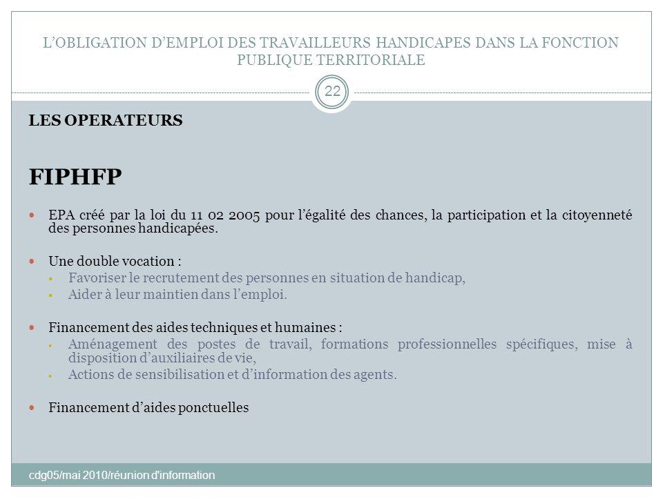 LOBLIGATION DEMPLOI DES TRAVAILLEURS HANDICAPES DANS LA FONCTION PUBLIQUE TERRITORIALE cdg05/mai 2010/réunion d'information 22 LES OPERATEURS FIPHFP E