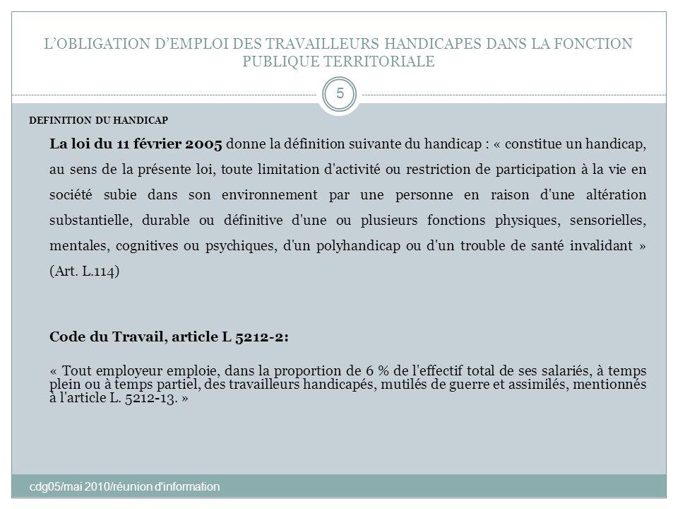 LOBLIGATION DEMPLOI DES TRAVAILLEURS HANDICAPES DANS LA FONCTION PUBLIQUE TERRITORIALE cdg05/mai 2010/réunion d'information 5 DEFINITION DU HANDICAP L