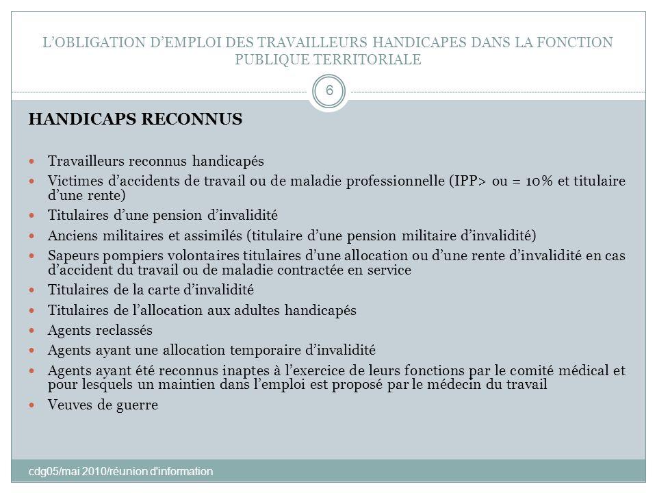 LOBLIGATION DEMPLOI DES TRAVAILLEURS HANDICAPES DANS LA FONCTION PUBLIQUE TERRITORIALE cdg05/mai 2010/réunion d'information 6 HANDICAPS RECONNUS Trava