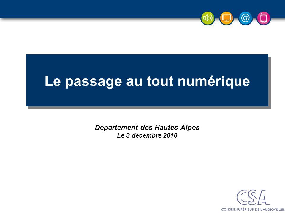 DEP – Pierre PETILLAULT, Didier GUILLOUX, Bernard CELLI – 20/10/2006 Décembre 2008 Le passage au tout numérique Département des Hautes-Alpes Le 3 déce