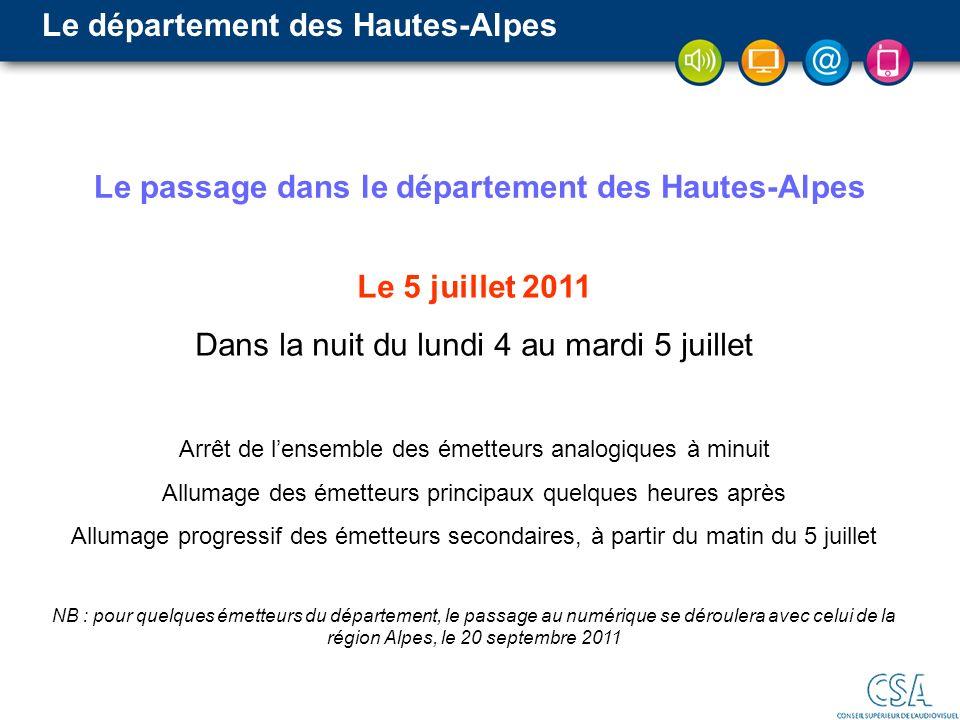 Le passage dans le département des Hautes-Alpes Le 5 juillet 2011 Dans la nuit du lundi 4 au mardi 5 juillet Arrêt de lensemble des émetteurs analogiq