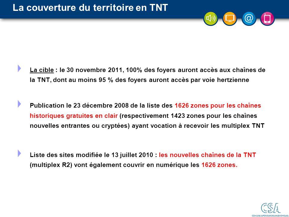 La couverture du territoire en TNT La cible : le 30 novembre 2011, 100% des foyers auront accès aux chaînes de la TNT, dont au moins 95 % des foyers a