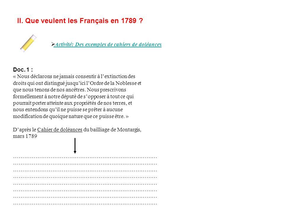 II. Que veulent les Français en 1789 ? Activité: Des exemples de cahiers de doléances Doc. 1 : « Nous déclarons ne jamais consentir à lextinction des