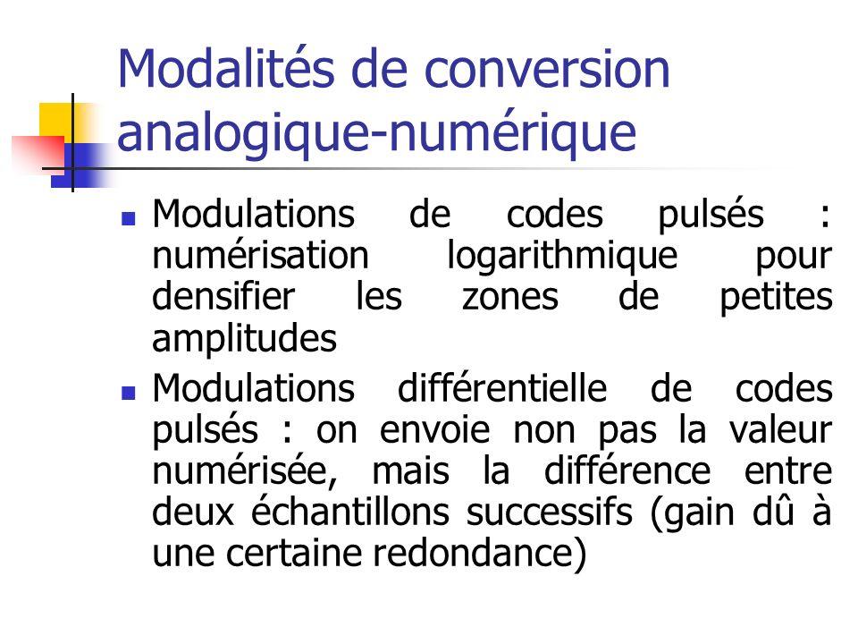 Modalités de conversion analogique-numérique Modulations de codes pulsés : numérisation logarithmique pour densifier les zones de petites amplitudes M