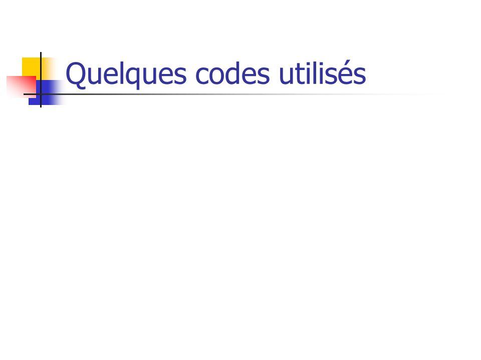 Quelques codes utilisés