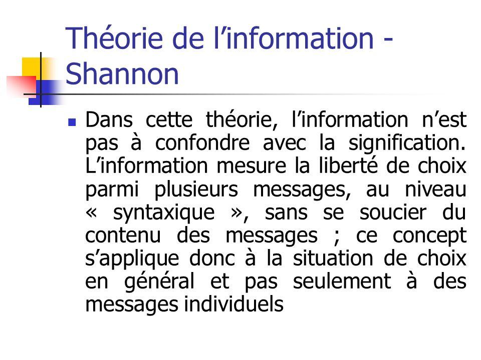 Théorie de linformation - Shannon Dans cette théorie, linformation nest pas à confondre avec la signification. Linformation mesure la liberté de choix