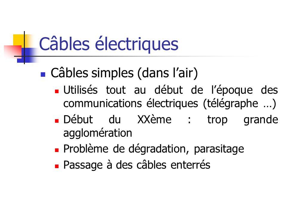Câbles électriques Paire torsadée Compensation des perturbations par les champs des deux fils enroulés Deux types : blindés et non-blindés Utilisée à grande échelle pour connecter des appareils téléphoniques individuels au réseau, les ordinateurs dans un réseau local Bon marché