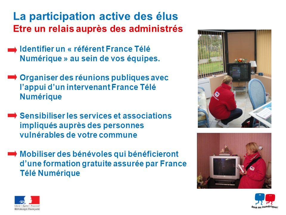 La participation active des élus Etre un relais auprès des administrés Identifier un « référent France Télé Numérique » au sein de vos équipes. Organi