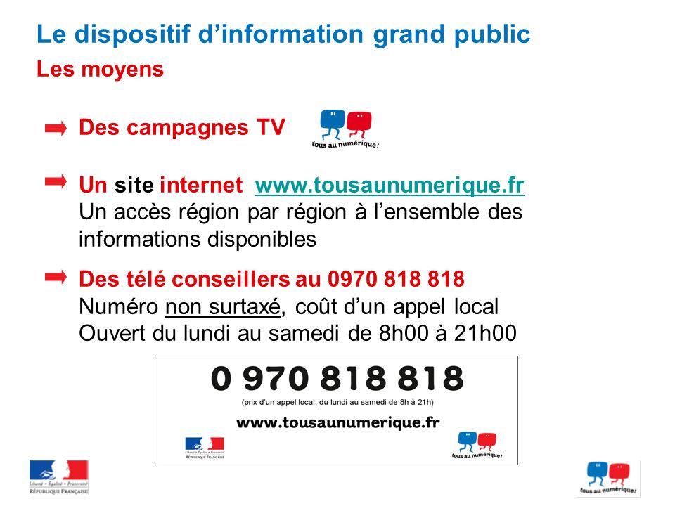 Des campagnes TV Un site internet www.tousaunumerique.frwww.tousaunumerique.fr Un accès région par région à lensemble des informations disponibles Des