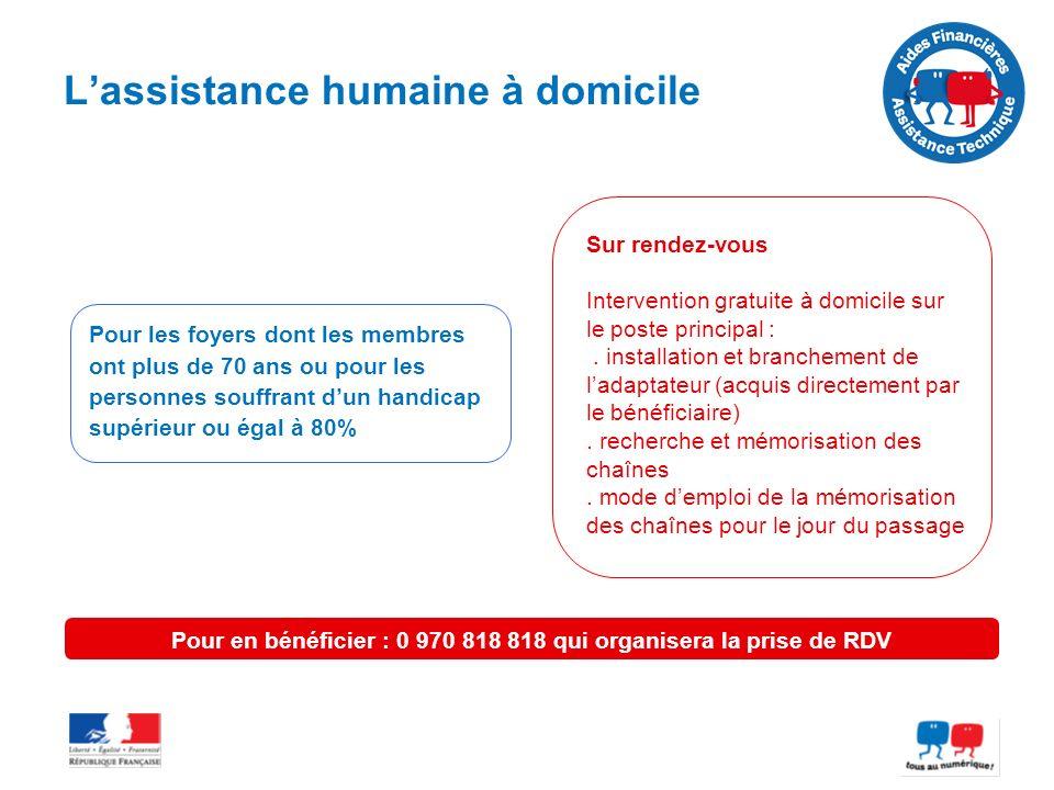 Lassistance humaine à domicile Pour les foyers dont les membres ont plus de 70 ans ou pour les personnes souffrant dun handicap supérieur ou égal à 80