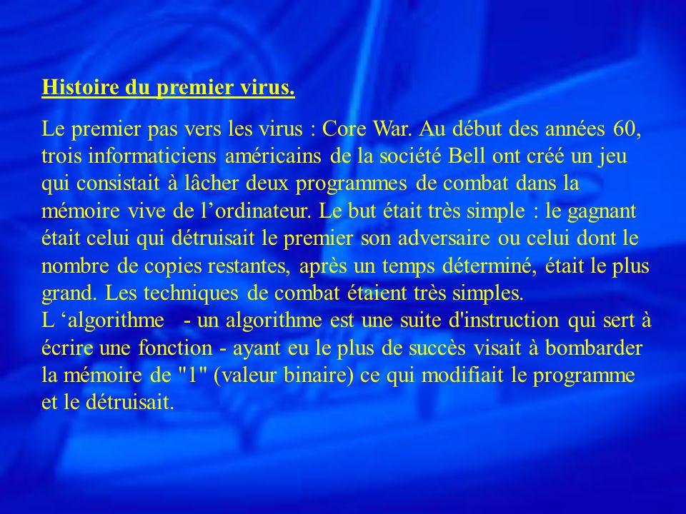 Un virus est un petit programme, situé dans le corps d un autre, qui, lorsqu on l exécute, se met dans la mémoire et exécute les instructions que son auteur lui a donné.
