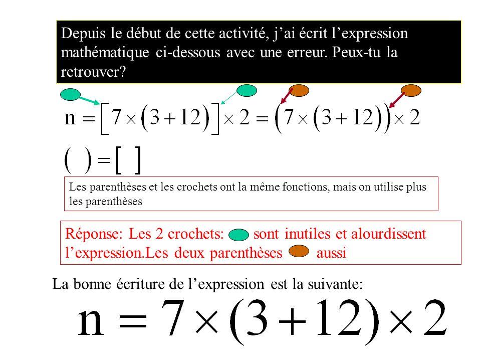 Depuis le début de cette activité, jai écrit lexpression mathématique ci-dessous avec une erreur.