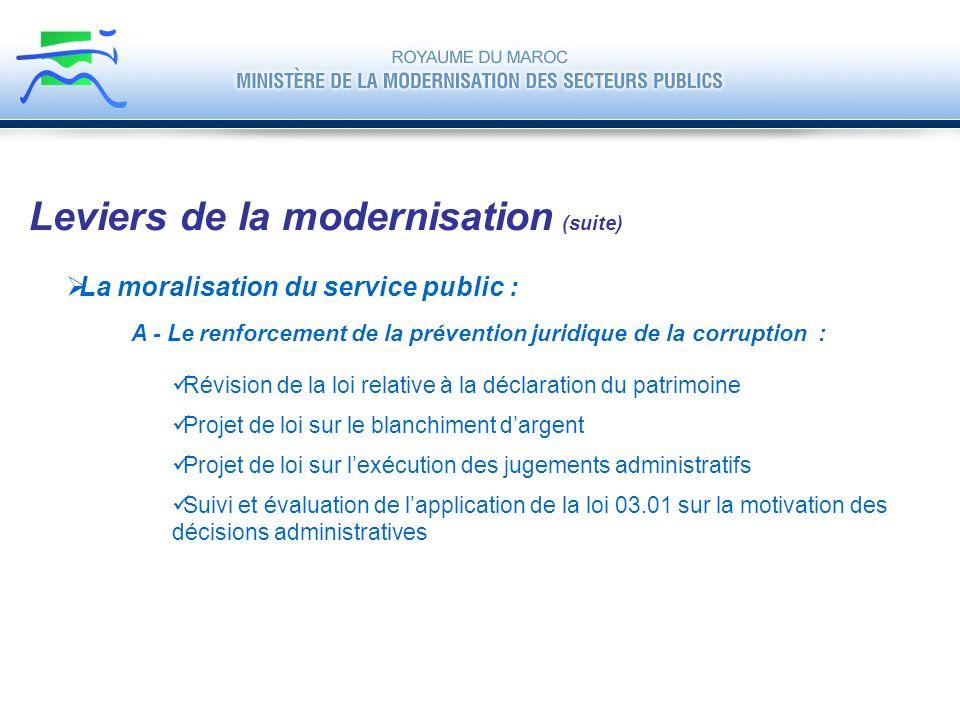 La moralisation du service public : Leviers de la modernisation (suite) A - Le renforcement de la prévention juridique de la corruption : Révision de