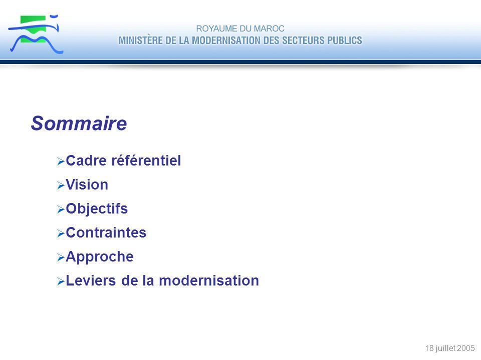 Cadre référentiel Vision Objectifs Contraintes Approche Leviers de la modernisation 18 juillet 2005 Sommaire