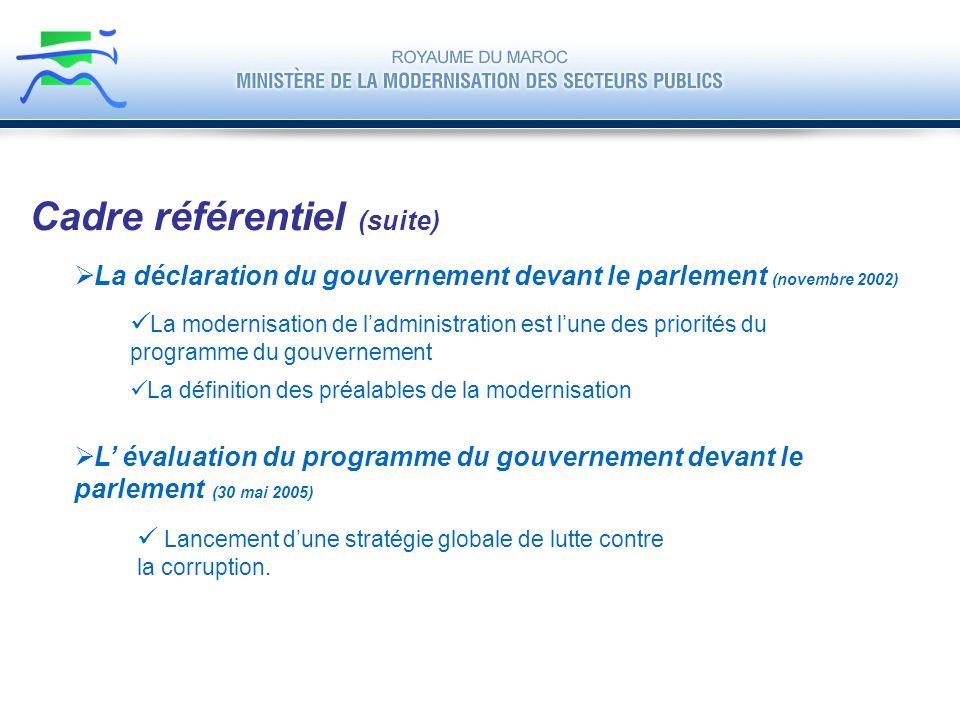 La déclaration du gouvernement devant le parlement (novembre 2002) Cadre référentiel (suite) La modernisation de ladministration est lune des priorité