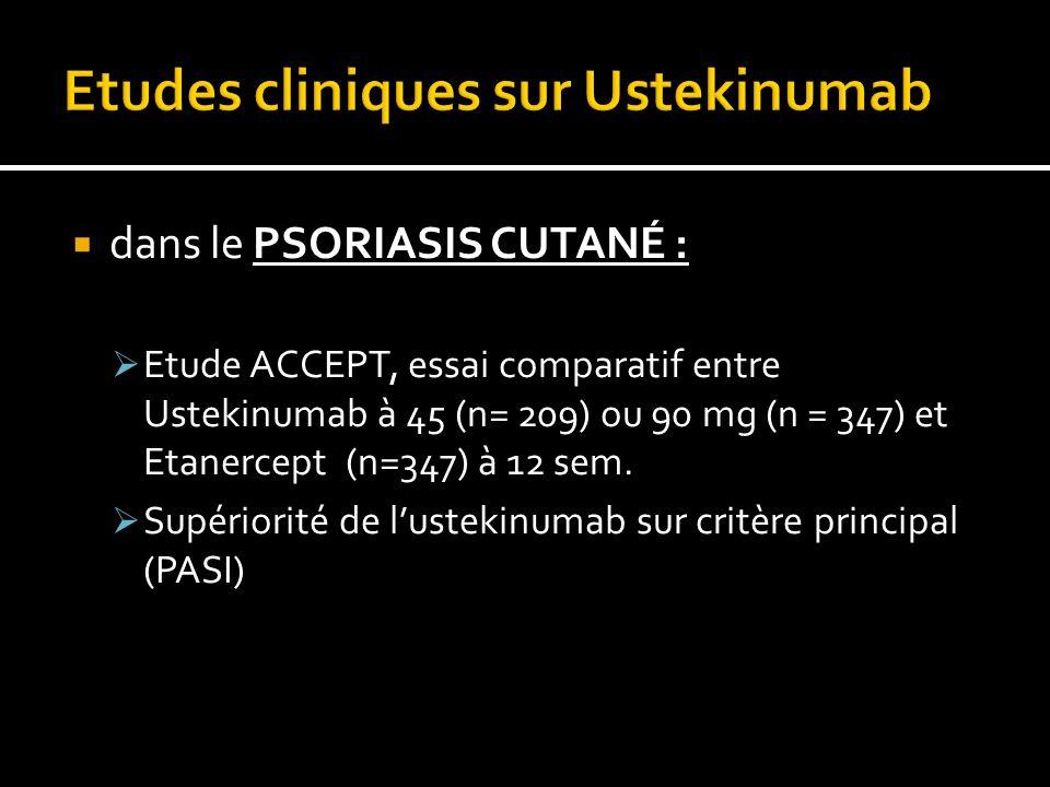 dans le PSORIASIS CUTANÉ : Etude ACCEPT, essai comparatif entre Ustekinumab à 45 (n= 209) ou 90 mg (n = 347) et Etanercept (n=347) à 12 sem.