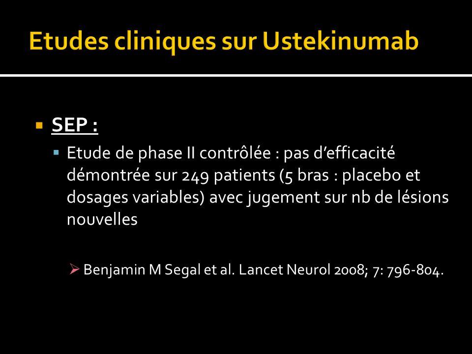 SEP : Etude de phase II contrôlée : pas defficacité démontrée sur 249 patients (5 bras : placebo et dosages variables) avec jugement sur nb de lésions nouvelles Benjamin M Segal et al.