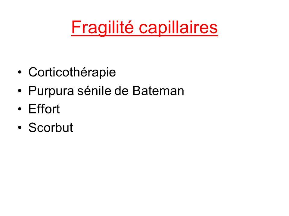 Fragilité capillaires Corticothérapie Purpura sénile de Bateman Effort Scorbut