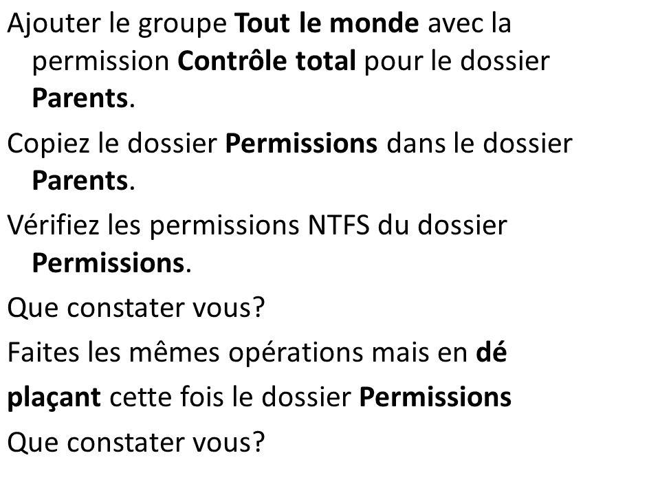 Ajouter le groupe Tout le monde avec la permission Contrôle total pour le dossier Parents. Copiez le dossier Permissions dans le dossier Parents. Véri