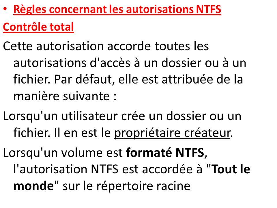 Règles concernant les autorisations NTFS Contrôle total Cette autorisation accorde toutes les autorisations d'accès à un dossier ou à un fichier. Par