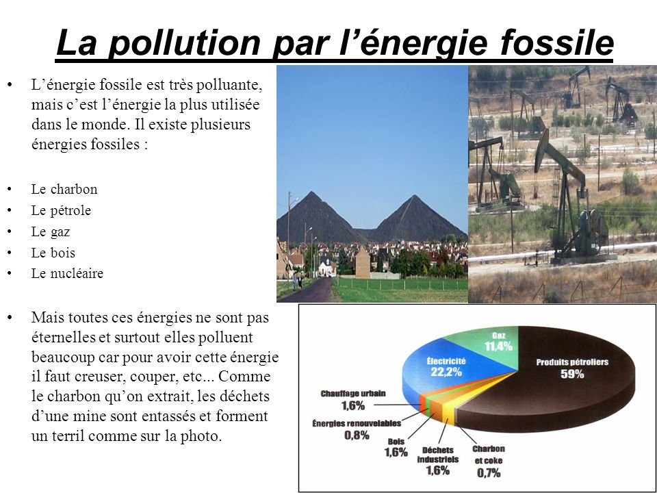 La pollution par lénergie fossile Lénergie fossile est très polluante, mais cest lénergie la plus utilisée dans le monde. Il existe plusieurs énergies