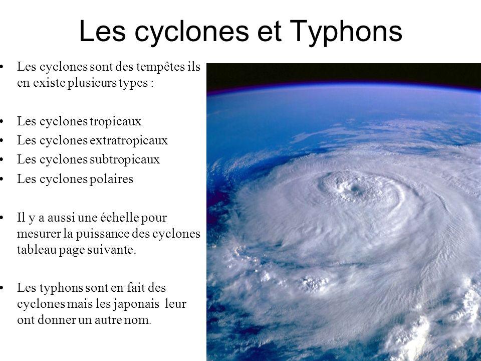 Les cyclones et Typhons Les cyclones sont des tempêtes ils en existe plusieurs types : Les cyclones tropicaux Les cyclones extratropicaux Les cyclones