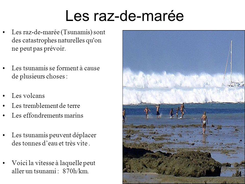 Les raz-de-marée Les raz-de-marée (Tsunamis) sont des catastrophes naturelles qu'on ne peut pas prévoir. Les tsunamis se forment à cause de plusieurs