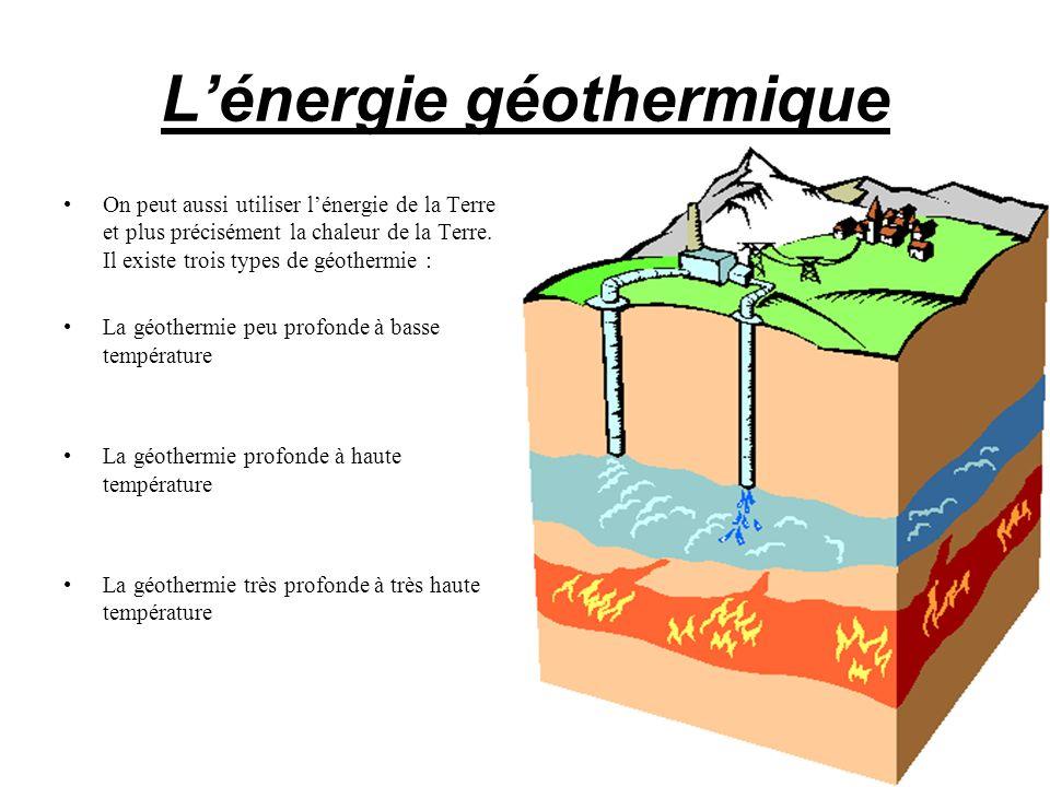 Lénergie géothermique On peut aussi utiliser lénergie de la Terre et plus précisément la chaleur de la Terre. Il existe trois types de géothermie : La
