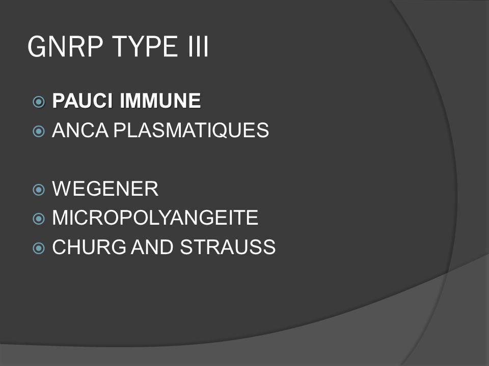 GNRP TYPE III PAUCI IMMUNE PAUCI IMMUNE ANCA PLASMATIQUES WEGENER MICROPOLYANGEITE CHURG AND STRAUSS