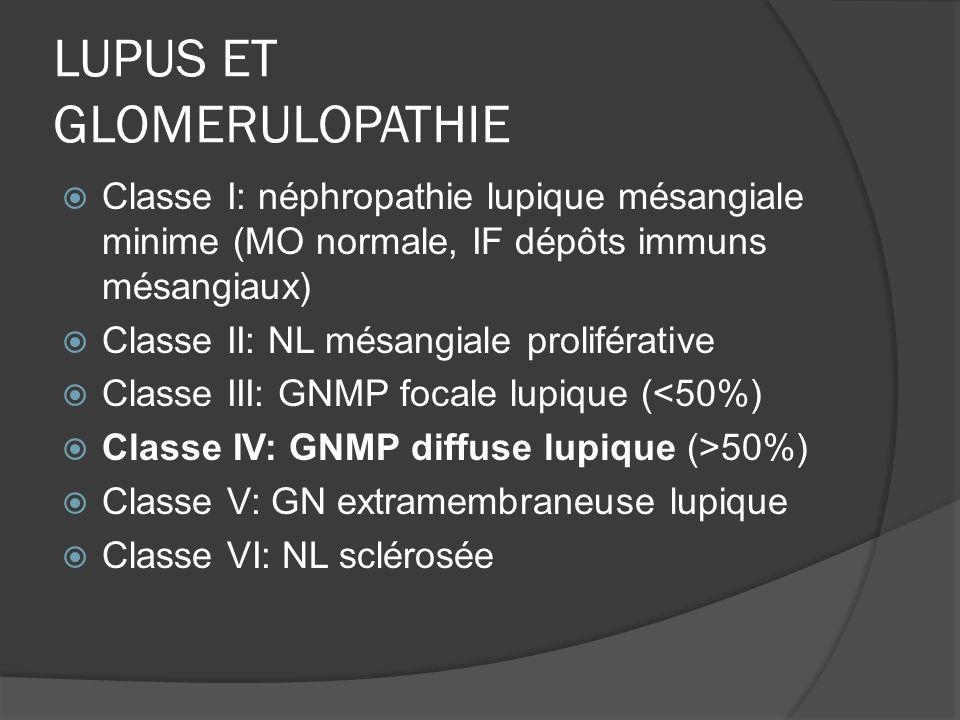 LUPUS ET GLOMERULOPATHIE Classe I: néphropathie lupique mésangiale minime (MO normale, IF dépôts immuns mésangiaux) Classe II: NL mésangiale proliféra