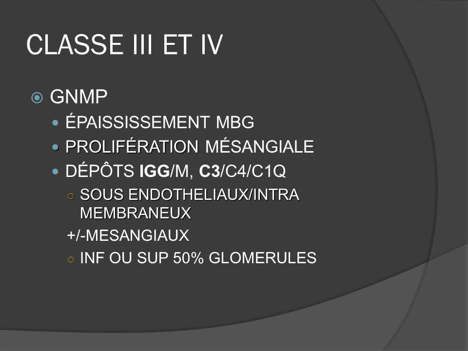 CLASSE III ET IV GNMP ÉPAISSISSEMENT MBG PROLIFÉRATION PROLIFÉRATION MÉSANGIALE DÉPÔTS IGG/M, C3/C4/C1Q SOUS ENDOTHELIAUX/INTRA MEMBRANEUX SOUS ENDOTH