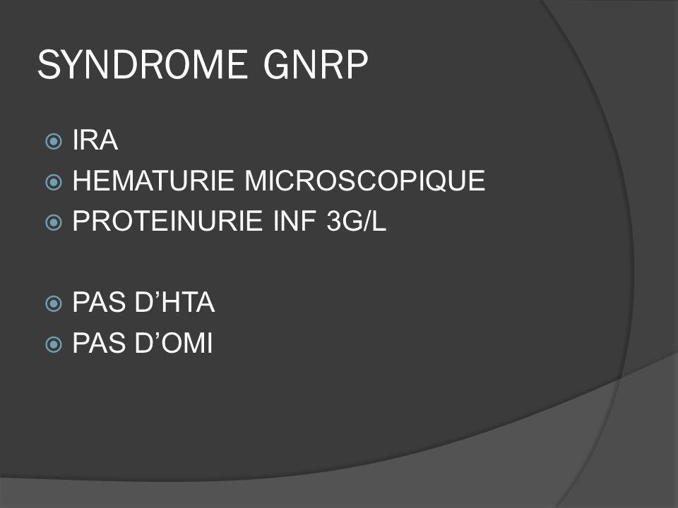 SYNDROME GNRP IRA HEMATURIE MICROSCOPIQUE PROTEINURIE INF 3G/L PAS DHTA PAS DOMI