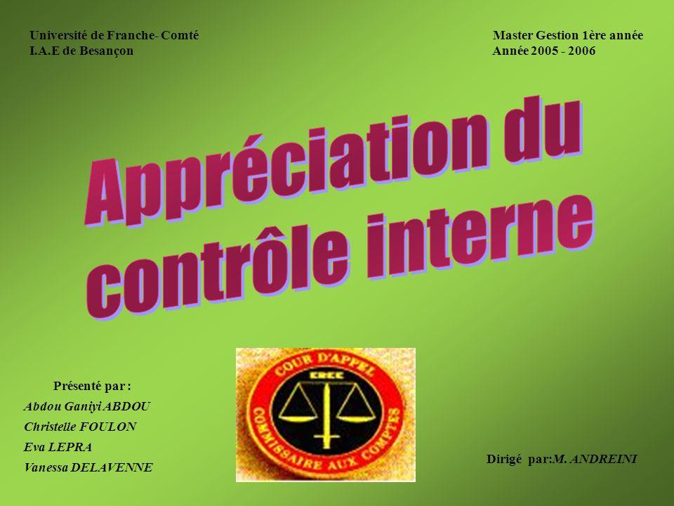 A/ Appréciation de lexistence du contrôle interne 4.