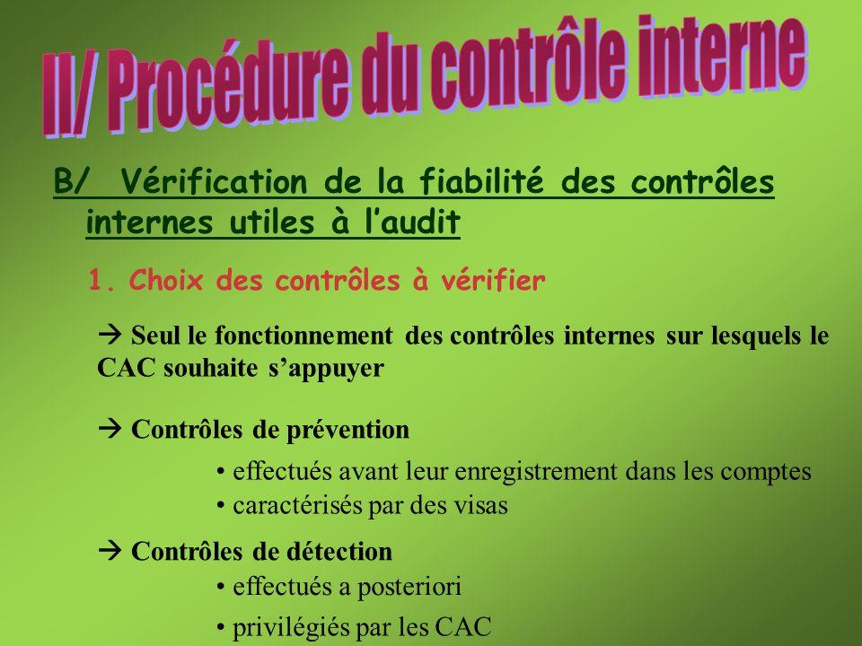 B/ Vérification de la fiabilité des contrôles internes utiles à laudit 1. Choix des contrôles à vérifier Seul le fonctionnement des contrôles internes