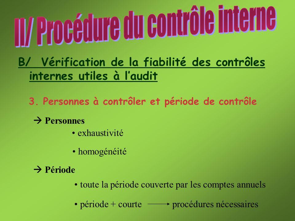 3. Personnes à contrôler et période de contrôle B/ Vérification de la fiabilité des contrôles internes utiles à laudit Personnes Période exhaustivité