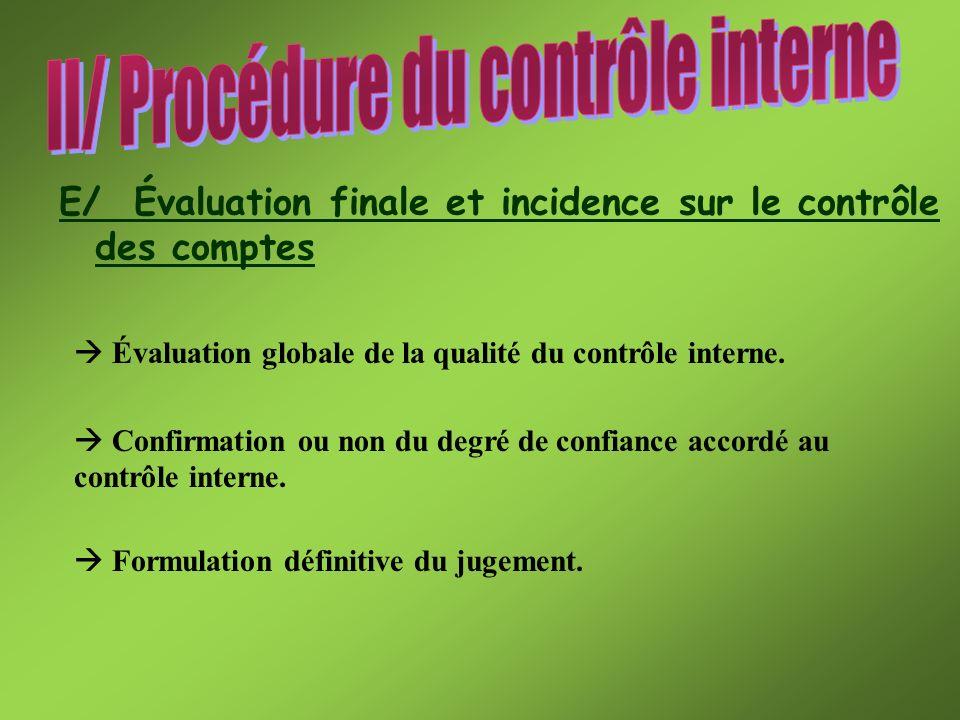 E/ Évaluation finale et incidence sur le contrôle des comptes Évaluation globale de la qualité du contrôle interne. Confirmation ou non du degré de co