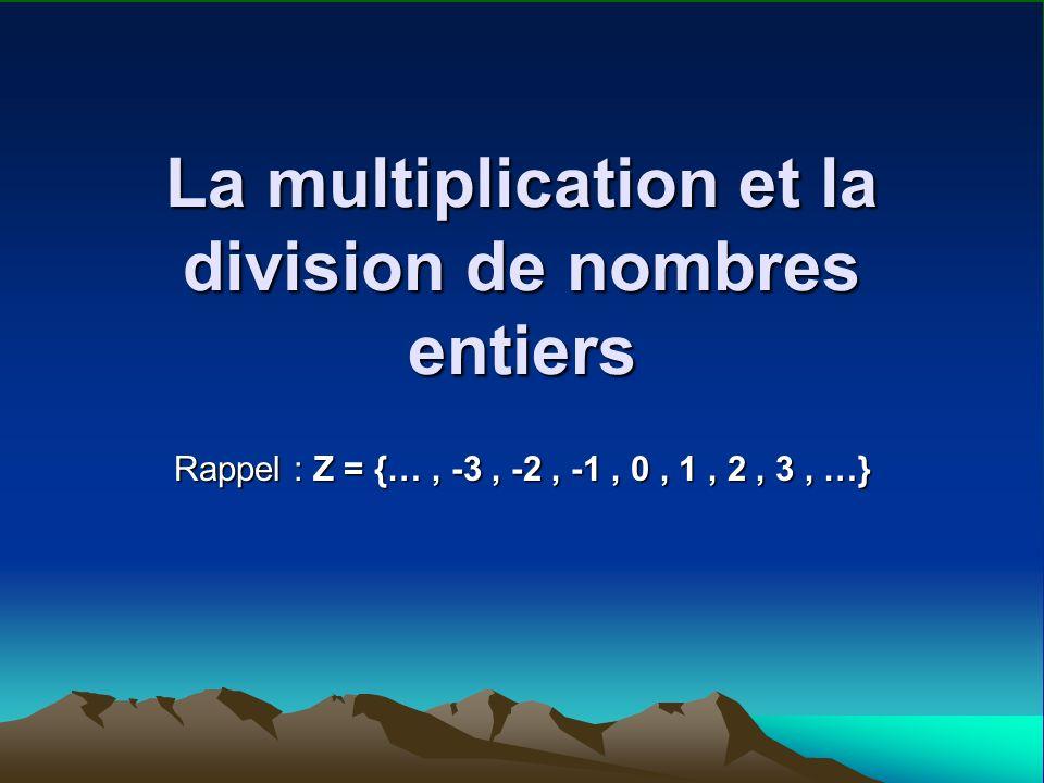 Les 4 cas possibles de la multiplication: Un nombre positif x un nombre positif; Exemple: 2 x 3 Un nombre négatif x un nombre négatif; Exemple: -3 x -6 Un nombre positif x un nombre négatif; Exemple: 5 x -7 Un nombre négatif x un nombre positif; Exemple: -2 x 11