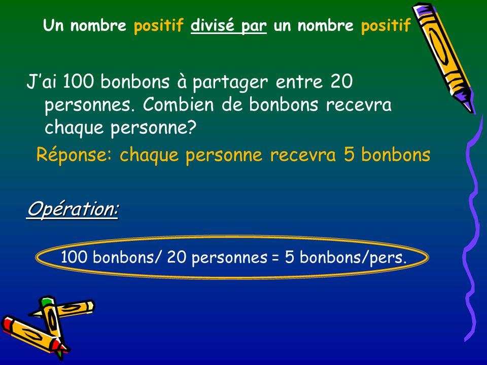 Un nombre positif divisé par un nombre positif Jai 100 bonbons à partager entre 20 personnes. Combien de bonbons recevra chaque personne? Réponse: cha
