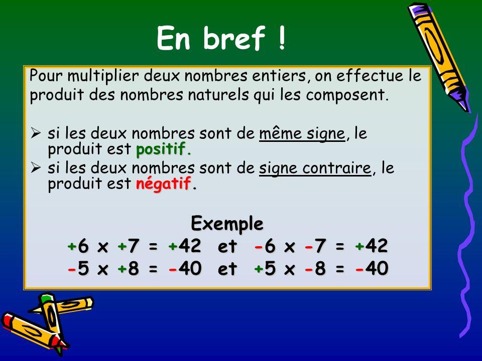 En bref ! Pour multiplier deux nombres entiers, on effectue le produit des nombres naturels qui les composent. positif. si les deux nombres sont de mê