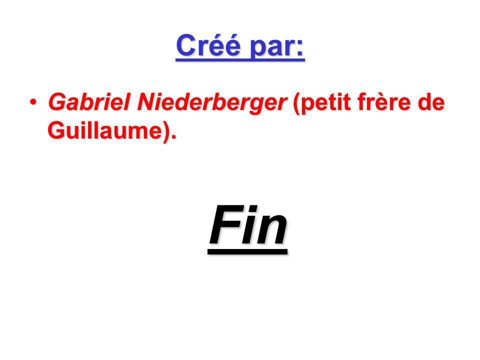 Créé par: Gabriel Niederberger (petit frère de Guillaume).Gabriel Niederberger (petit frère de Guillaume). Fin Fin