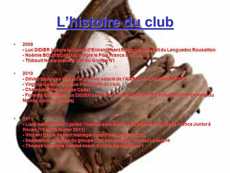 Lhistoire du club 2009 - Luc DIDIER intègre le Centre d'Entrainement Régional Baseball du Languedoc Roussillon - Noémie BOURBONNAIS intègre le Pôle Fr