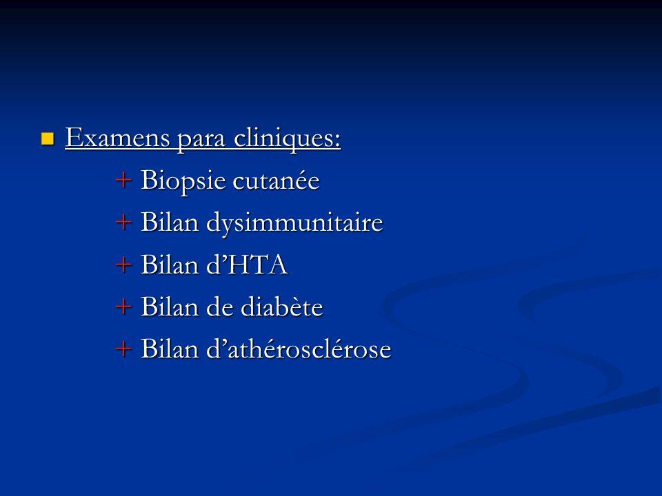 Examens para cliniques: Examens para cliniques: + Biopsie cutanée + Biopsie cutanée + Bilan dysimmunitaire + Bilan dysimmunitaire + Bilan dHTA + Bilan