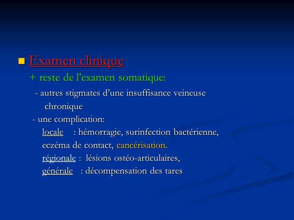 Examen clinique Examen clinique + reste de lexamen somatique: + reste de lexamen somatique: - autres stigmates dune insuffisance veineuse - autres sti