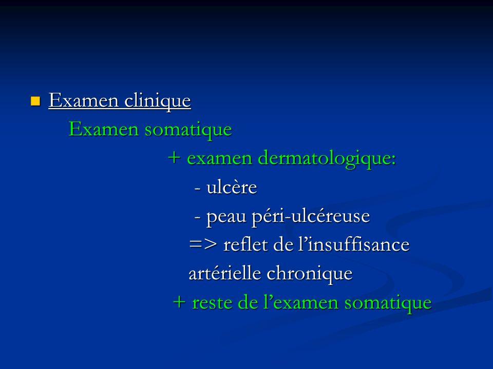 Examen clinique Examen clinique Examen somatique Examen somatique + examen dermatologique: + examen dermatologique: - ulcère - ulcère - peau péri-ulcé