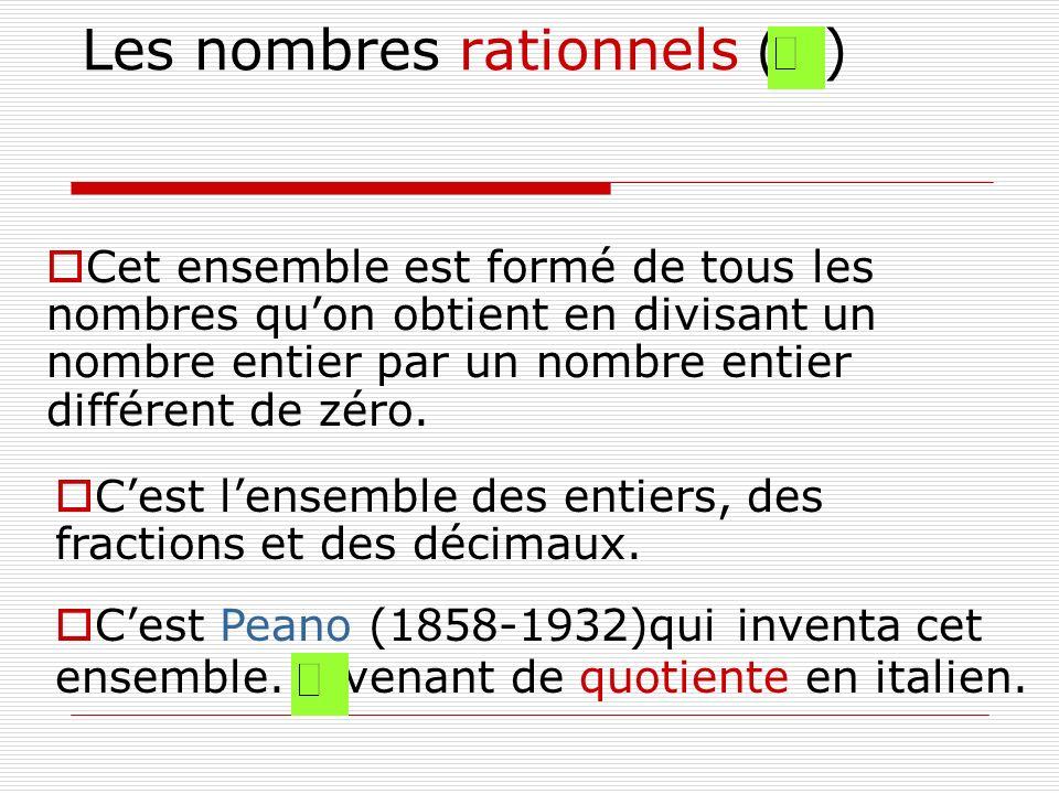 Les nombres rationnels ( ) Cet ensemble est formé de tous les nombres quon obtient en divisant un nombre entier par un nombre entier différent de zéro