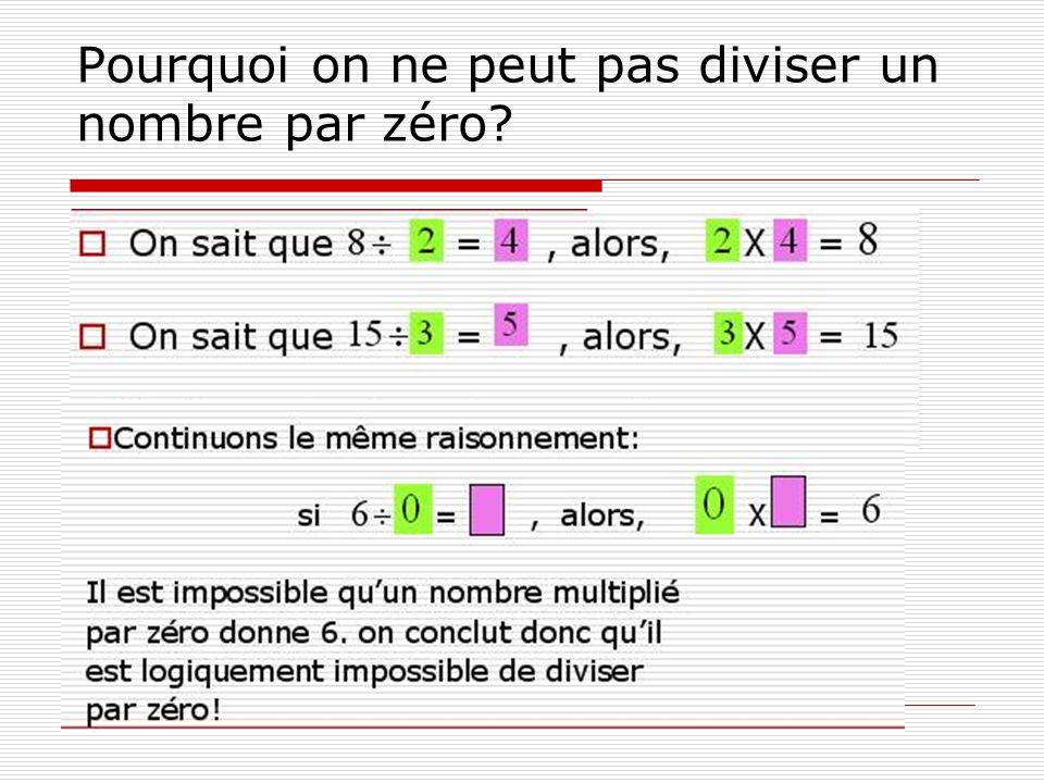 Pourquoi on ne peut pas diviser un nombre par zéro?